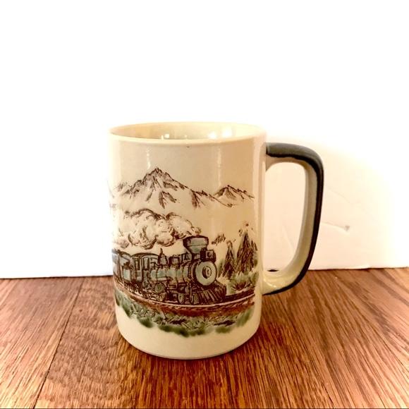 SOLD Hand Paint Steam Train Locomotive Coffee Mug
